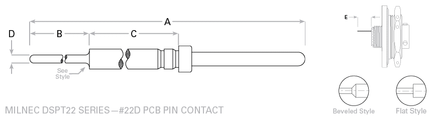 38999 Series 2 #22 PCB Pin Contact Drawing