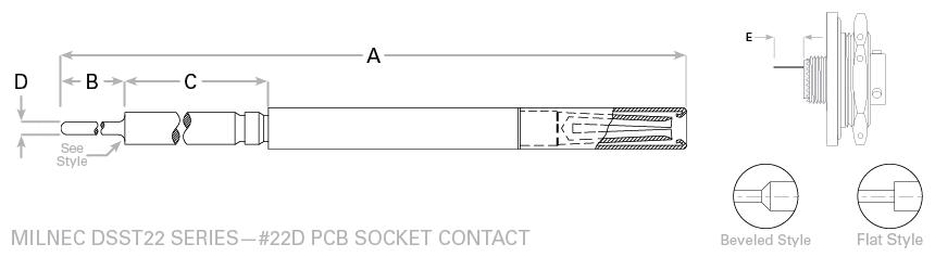 38999 Series 2 #22 PCB Socket Contact Drawing