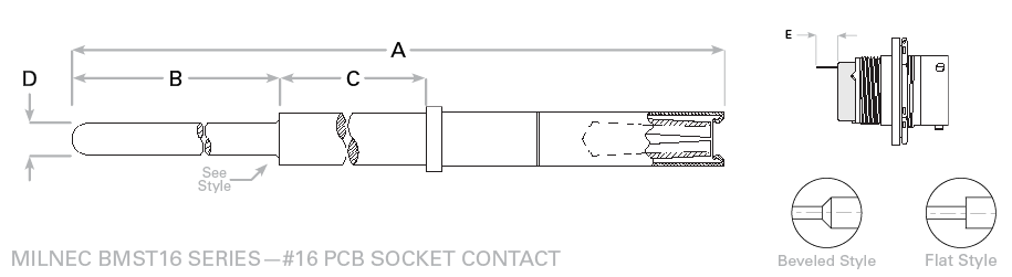 MIL-26482 Size 16 PCB Socket Contact