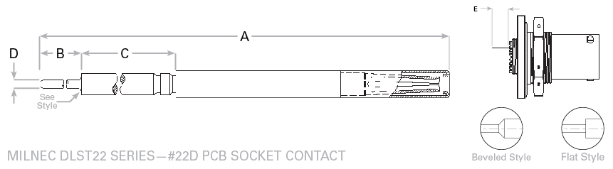 38999 Series I Size 22 PCB Socket Contacts