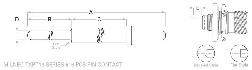 D38999 pc tail 16 pin contact