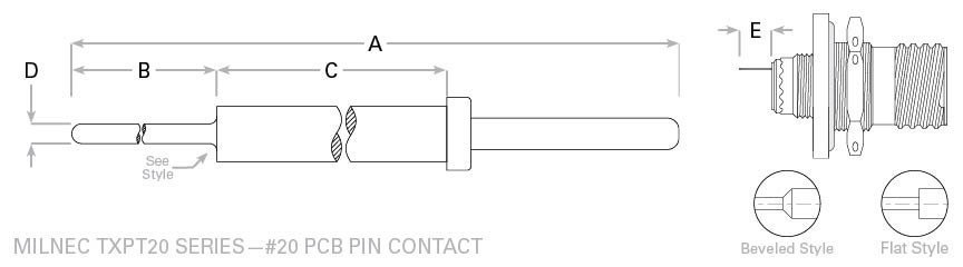 D38999 pc tail 20 pin contact