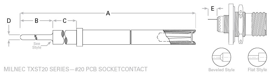 D38999 pc tail 20 socket contact