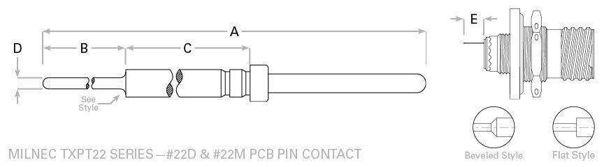 D38999 pc tail 22d pin contact