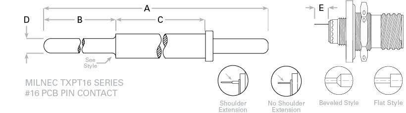 d38999-pcb-tail-16-pin contact